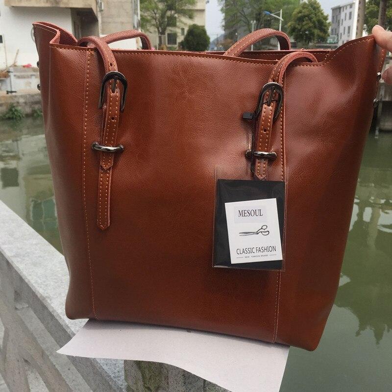 mulheres bolsa de couro genuíno Color : Brown/black
