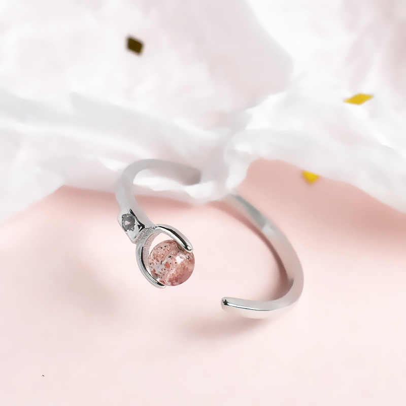 Open Tail Ring S925 Sterling Silver Ring Amethyst Natural Crystal Rose Quartz Sweet Cute Fashion Ring Reiki Healing Jewelry