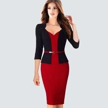 Элегантное цельное лоскутное женское деловое офисное платье, повседневная одежда для работы с поясом, женское официальное облегающее платье-карандаш HB328