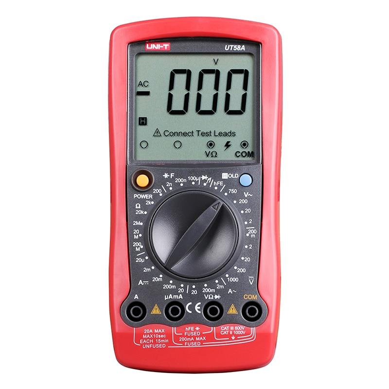 все цены на UT58A Digital Multimeter Ammeter Ohm Volt Meter Capacitance Digital Universal Meter LCD Count 1999 AVO Meter UNI-T онлайн