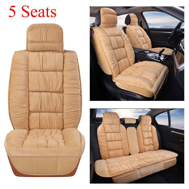 Auto Car Seat Cover Universal Winter Warm Plush Cushion Full Sets Fit 5 Seat SUV Sedans