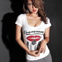 2016 Fashion Summer T Shirt Women Beading Red Lip Print T Shirts O Neck Short Sleeve
