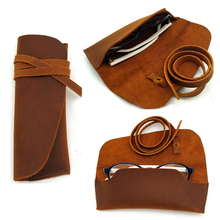 Glasses Case Simple Fashion Leather Sunglasses Bag Mens and Womens Crazy Horse Manual Mirror