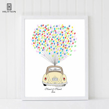 Delicate Wedding Car Free Custom Name And Date DIY Fingerprint Signature Canvas Guestbook For Wedding Anniversary Party Decor wedding balloon canvas print diy fingerprint signature guestbook for wedding bride groom custom name date party decor
