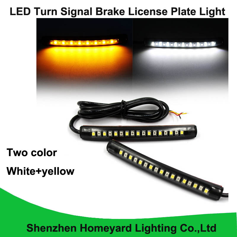 Homeyard 2pc Universal Flexible LED Turn Signal Tail Brake License Plate Light Integrated for Motorcycle Bike ATV Car