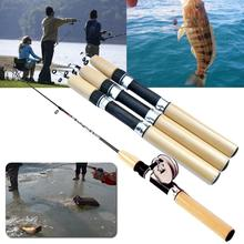 relefree 65cm Telescoping Carbon Ice Fishing Rod Baitcasting Rod Spinning Fishing Pole Lure Mini Pole Winter Fishing Hard Tackle