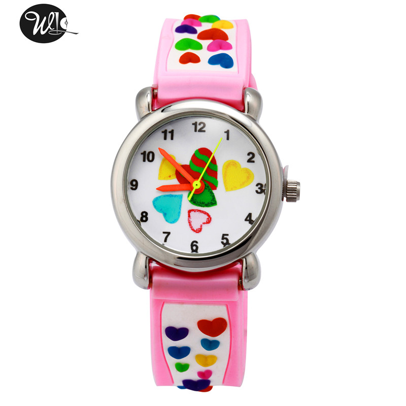 Children's watch 3D cartoon color love pattern quartz watch Boy girl learning time pointer green waterproof watch