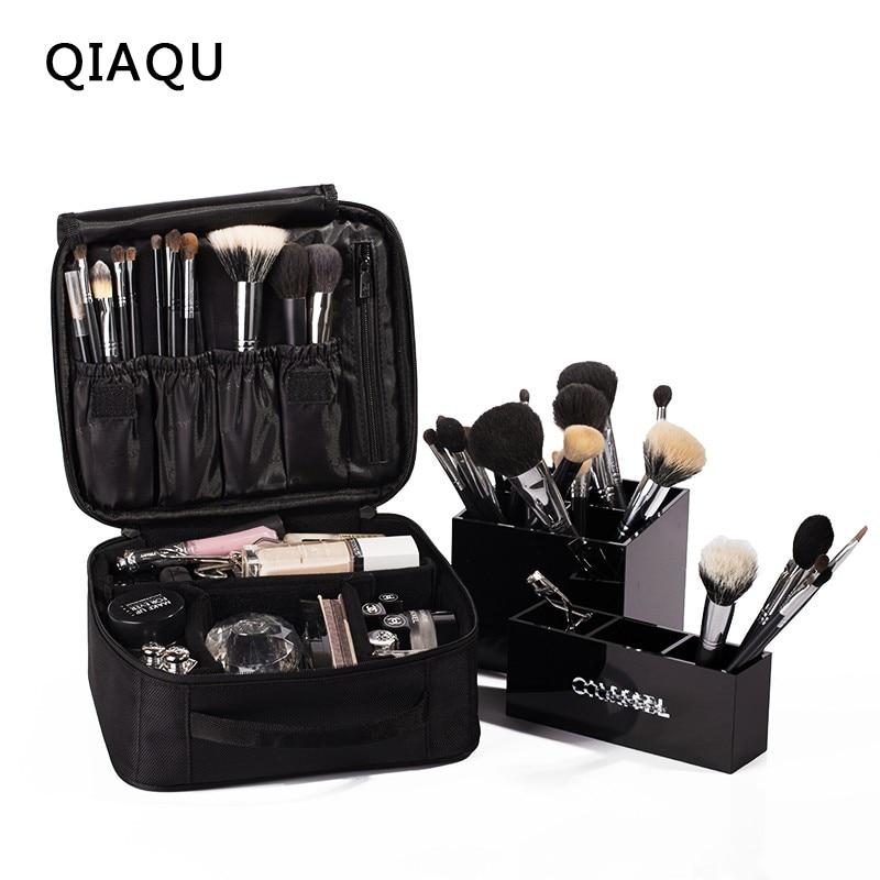 QIAQU Brand High Quality Travel Makeup Bag Portable Drawstring Makeup Bag Waterproof Makeup Train Case Black Travel Accessorie