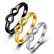 Simple Infinite sign Ring For Women Silvery/Gold color /Black Charm Party Finger Jewelry Dropshipping Wholesale