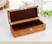 top grade 5 grid original African pear wood watch storage box wooden watches case boxes organizer with lock key MSBH004d