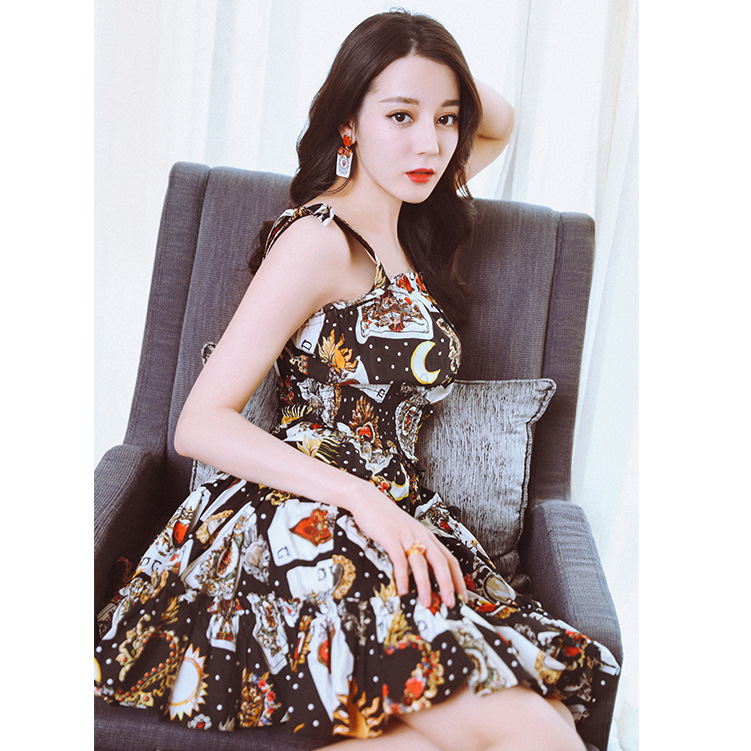 New star with a Poker printing short suspenders a A-line ladies temperament dress female F0316