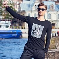 Enjeolon marka yeni rahat uzun kollu t gömlek adam örme pamuk siyah beyaz baskı taban Giyim Üstleri Tee ücretsiz gemi RST1124-1