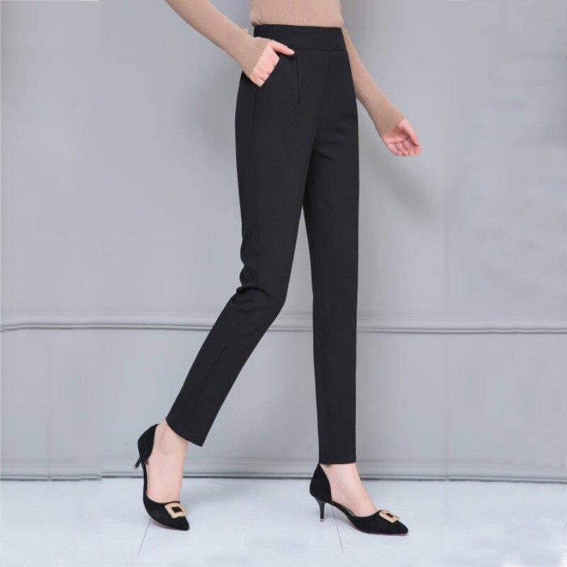 Office Lady Harem Pants Sweet High Waist Slim Elastic Waist Pockets Casual Harajuku Trousers Pantalon Femme  Pants Women F2