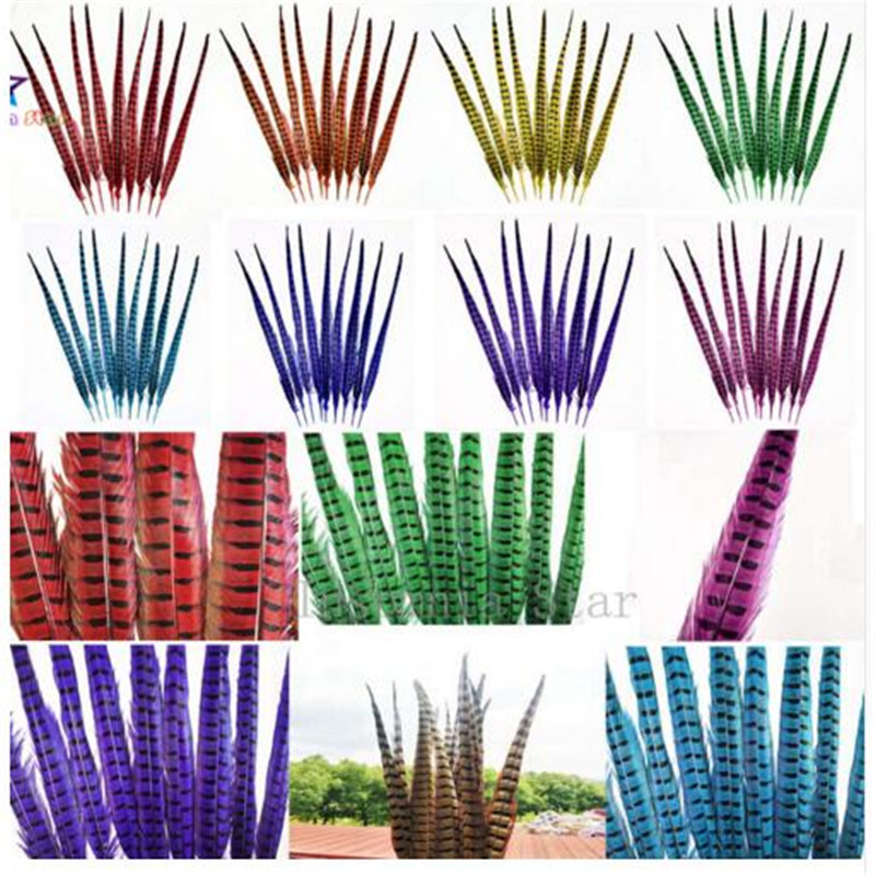Z&Q&Y natural beautiful 100 55-60CM/22-24 inch dyed pheasant feathers DIY clothing show decoration accessories headwear