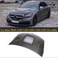 Carbon Fiber Car Front Hoods Covers Auto Engines Hood for Benz C Class W205 C180 C200 C250 C300 C350 C43 AMG C63 AMG 2015 2019
