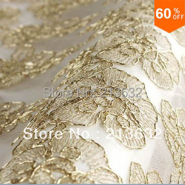 hot Golden france lace flower rose embroidery table cloth flowers wedding flower fabric spun gold garment lace yard organza lace