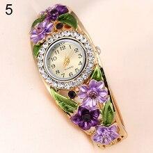 Цветы Дизайн металлический браслет часы Женское платье Обувь для девочек браслет кварцевые часы женские наручные часы 5 цветов Relojes