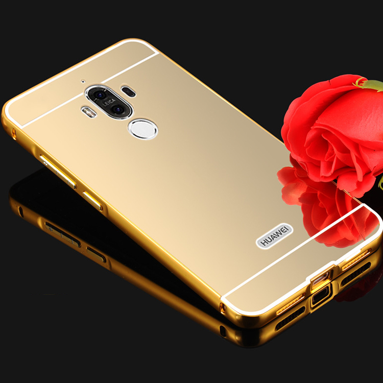 Gold Plating Mirror case for Huawei Mate 9 Aluminum Metal Bumper + plastic Hard Back Cover Phone Shell Protect Case Coque