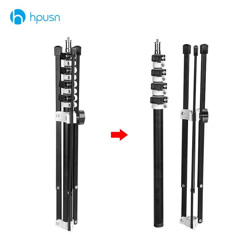 Prix pour HPUSN B5 Pliable 210 cm Lumière Stand 6.9ft Métal portable pliable trépied pour studio Flash éclairage Kits soutien 5 section
