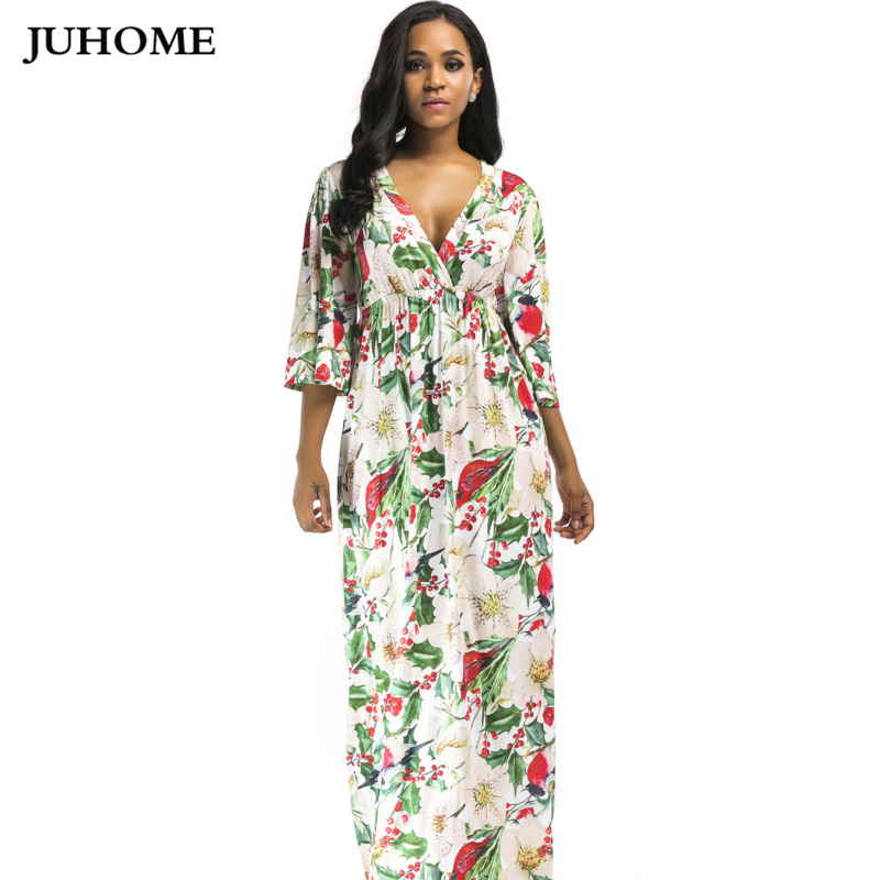 Europe style ukraine Women Clothes 2017 Half sleeve autumn dress For Fat flower printed Floral Maxi long new autumn party dress