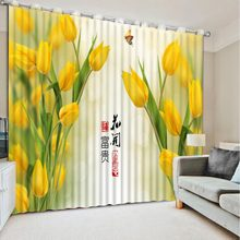 yellow curtains Landscape Scenery Beauty Digital Photo Printing Blackout 3D Curtains for Living Room(China)