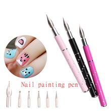 1 Набор, 6 головок, нержавеющая сталь, сделай сам, для дизайна ногтей, ручка для рисования, точечный декор, наборы для салона, маникюра, инструменты для работы со стразами