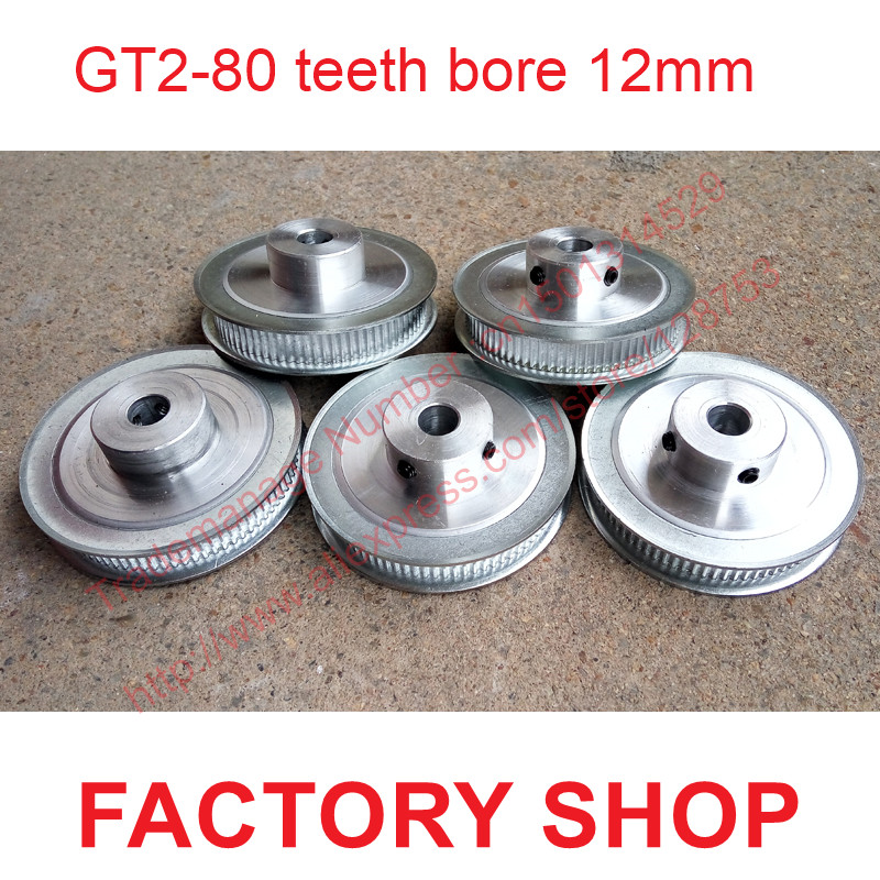 whole sale 5pcs 80 teeth Bore 12mm GT2 Timing Pulley 80 tooth fit width 6mm of 2GT timing Belt High quality Free shipping цена