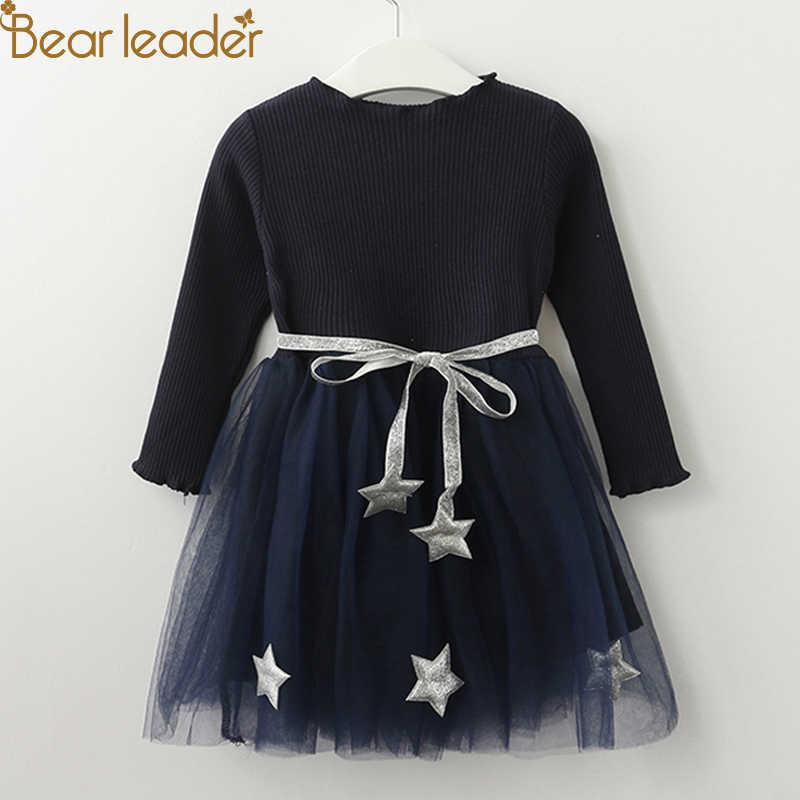 Bear leader/платье для девочек Новинка 2019 года, осенняя кружевная рубашка с длинными рукавами в английском стиле + клетчатое платье на бретелях для принцесс от 3 до 7 лет