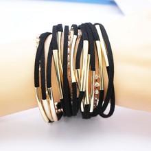 Women New Hot Hand Woven Multi-layer Leather Bracelet Fashion Male Personality Punk Bracelet