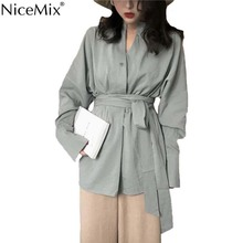 NiceMix Harajuku Vintage Solid Blouse Womens Tops And Blouses Korean Style Defined Waist Casual Shirt Blusas Mujer De Moda 2019
