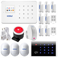 KERUI Wireless GSM SMS Home Security Alarm System Android ISO App Burglar Alarm System Kit Motion Sensor Door Sensor RFID keypad