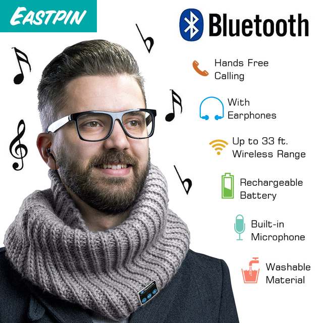 Wireless Headphones Bluetooth Scarf,  with HD Stereo Bluetooth Earphones  Music Scarf, Compatible with Any Bluetooth Devices
