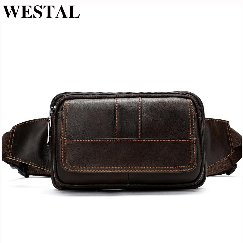 WESTAL Men's Genuine Leather Waist Bag Fanny Pack Men Leather Belt Waist Bags Phone Packs Small Chest Messenger For Man 8966