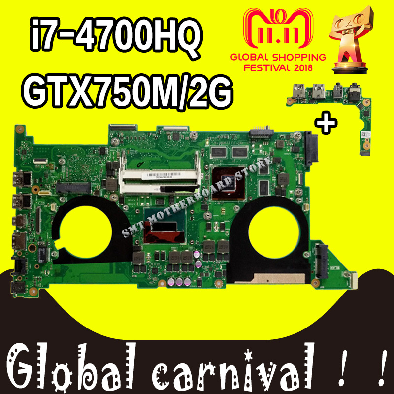 Send board+N750JV Motherboard I7-4700HQ GT750M For ASUS N750JV N750JK laptop Motherboard N750JV Mainboard N750JV Motherboard цена