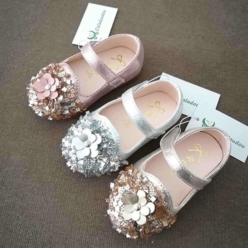 0 3 Years Old Kids Shoes Pu Leather Sequins Glisten Gold Baby Girls Shoes  Silver Flower Princess Party Soft Toddler Flats Size 5-in Leather Shoes  from ... 51d91510bfb4