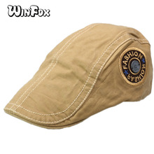 Winfox Vintage Male French Hats Flat Peaked Caps for Men  Gentleman Black Beret Navy Cap With Inscriptions Letter Cabbie Hat