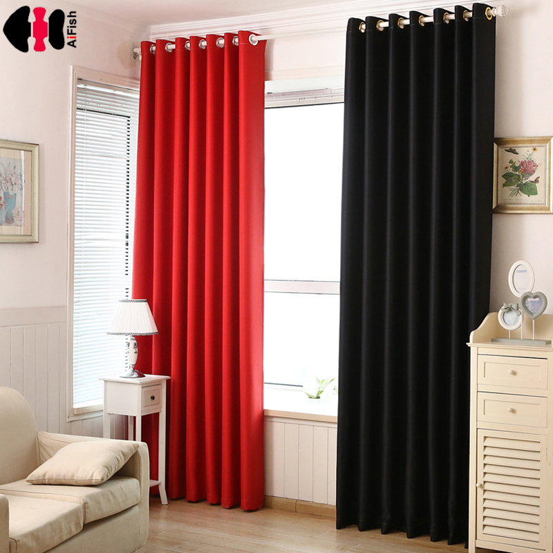 Black Thick Curtain Fabric Crystal Blind Blackout Curtains Red Coffee House Curtain Sun Shade
