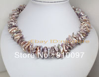 >>>18long Excellent natural lilac baroque Biwa pearl gem necklace 18