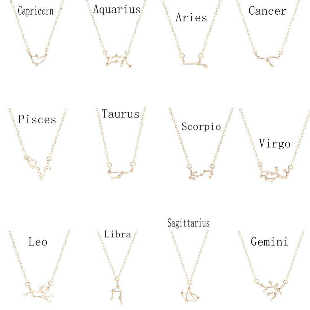 QIAMNI 12 Star Gemini Leo Pisces Zodiac Signs Constellation Horoscope Astrology Galaxy Necklace Birthday Gift For Women Men