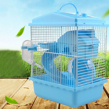 Pet Cage Hamster Pet  Hamster Cottage Transparent Skylight Double Layer  Luxury House Portable Mice Home Habitat Decoration 3