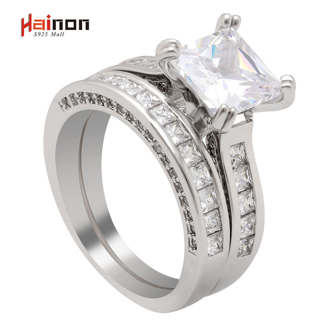 S925 mall Silver Plated AAA CZ Princess Cut Wedding Ring Set