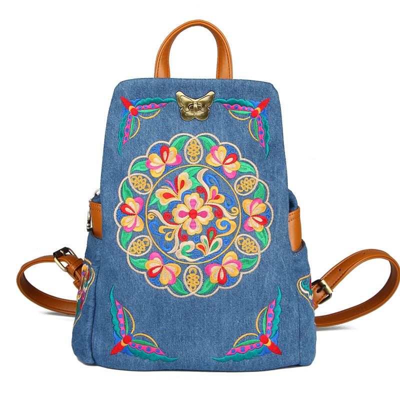 Leisure High Quality Ethnic Denim Embroidered Floral Canvas Backpacks For Women Sac A Dos Retro Jeans Travel KnapsackLeisure High Quality Ethnic Denim Embroidered Floral Canvas Backpacks For Women Sac A Dos Retro Jeans Travel Knapsack