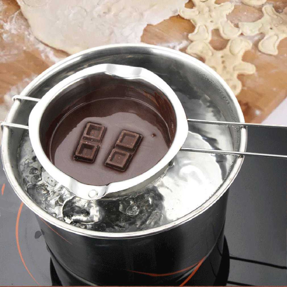 Stainless Steel Chocolate Butter Milt Melt Ting Bowl Long Grip Handle DIY Pastry Cooking Dessert Baking Pastry KKitchen Tool цена и фото
