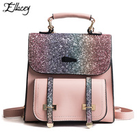 Ellacey New 2019 Summer Bling Bling Sequins Backpack Fashion Backpack Leisure Travel Bag Girl's PU Leather Patchwork Backpack