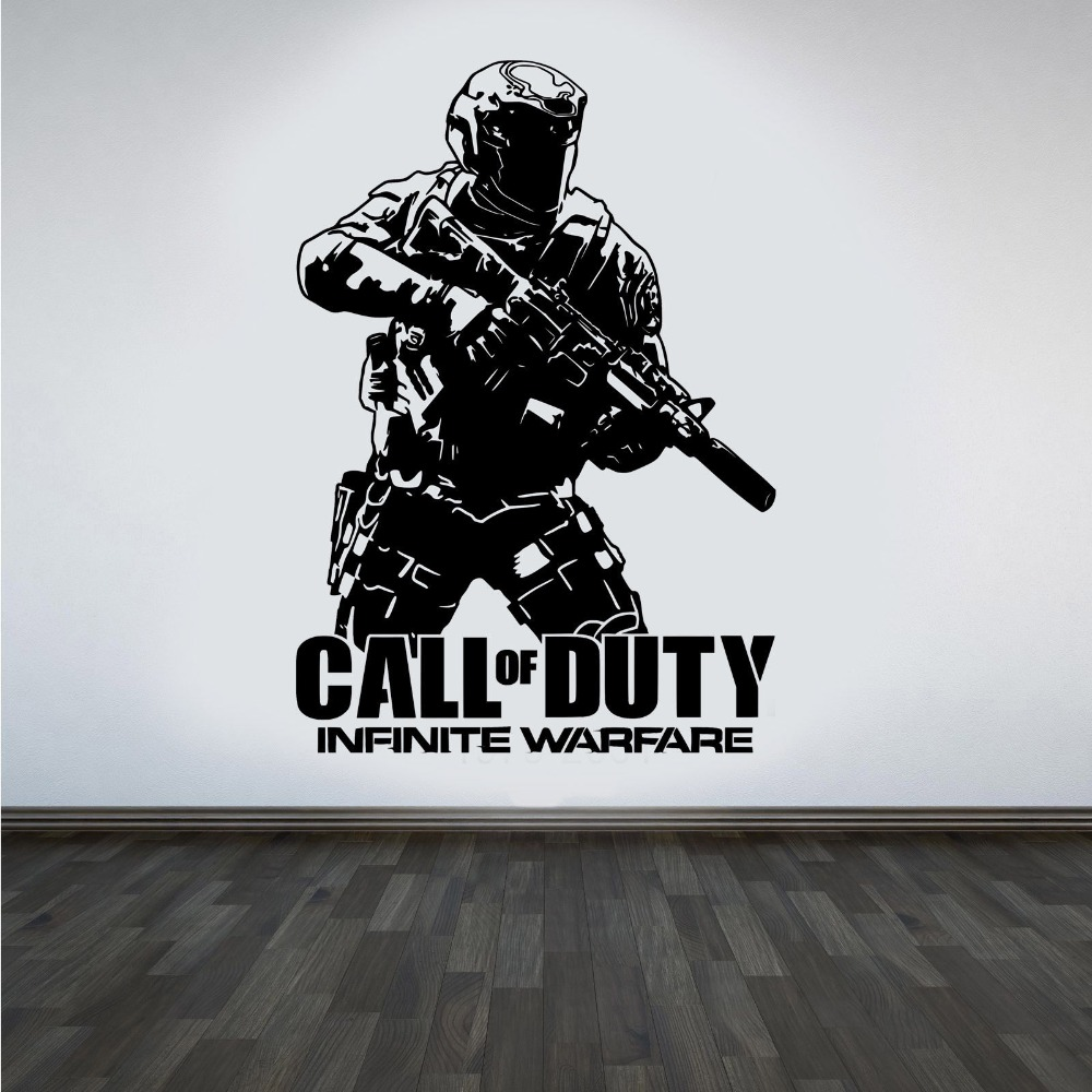 Design Removable Wall Decal Army Call of duty Infinite Warfare WARFIGHTER ps4 Gamer wall Sticker art Decor House Poster M904