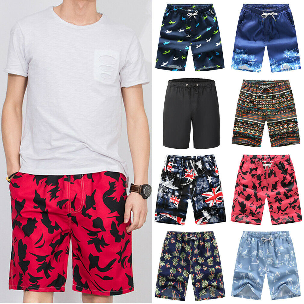 Hot Summer Men Board Shorts Print Loose Casual Sports Shorts Baggy Gym Running Jogger Sweat Beach Casual Male Pants