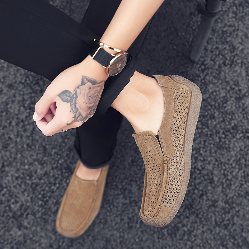 Summer Men Shoes Casual Luxury Brand 2019 Genuine Leather Mens Loafers Moccasins Italian Breathable Slip on Boat Shoes C4 in Men 39 s Casual Shoes from Shoes