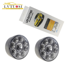 2PCS Car Headlight 9W LED Round Day Fog Light H11/H4/H7/881/9005/9006 LED Auto DRL DC12V White Cree Chip White потолочный светильник arlight sp r145 9w day white