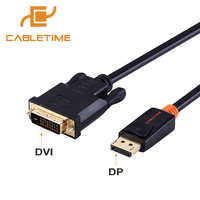 Cabletime DisplayPort To DVI Adapter Cable Male To Male For DisplayPort Enabled Desktops And Laptops To