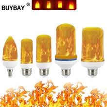 Полная модель 3 Вт, 5 Вт, 7 Вт, 9 Вт, E27 E26 E14 E12 пламени лампы 85-265V Светодиодный эффект пламени огня светильник лампочки мерцающие Декор светодиодный потолочный светильник